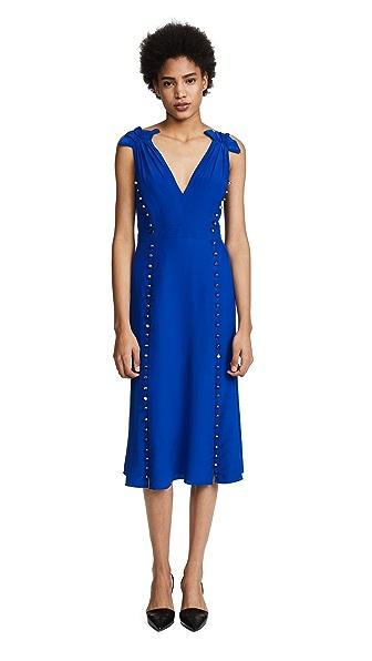 Prabal Gurung Deep V Dress with Button Detail at Shopbop