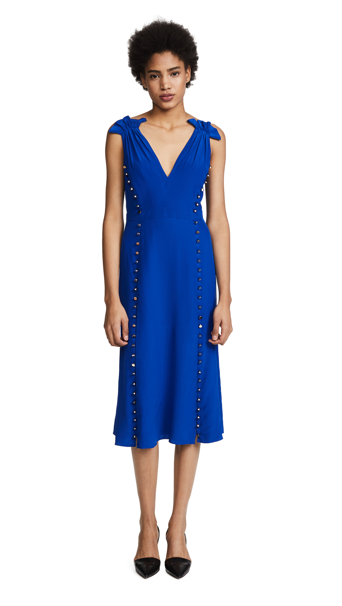 Prabal Gurung Deep V Dress with Button Detail In Cobalt