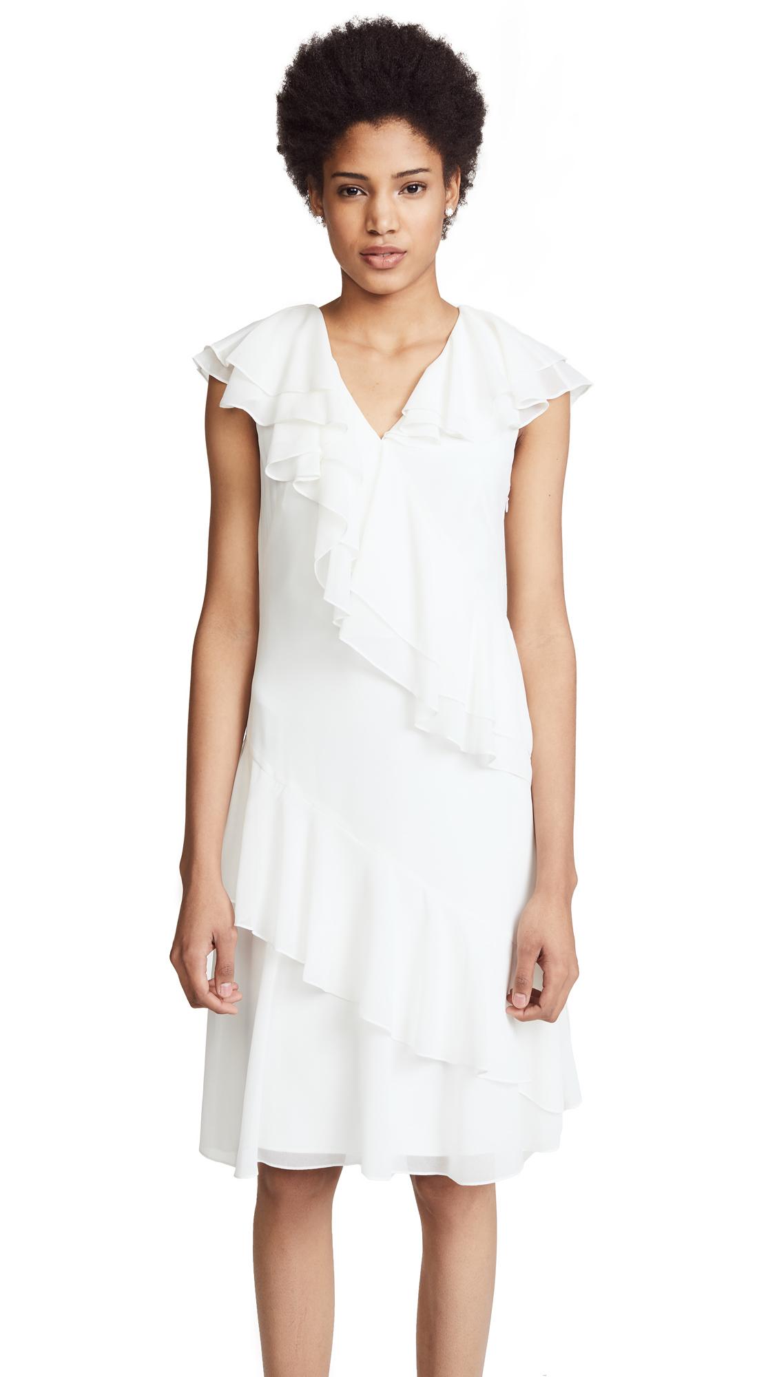 Prabal Gurung Ruffle Dress In White