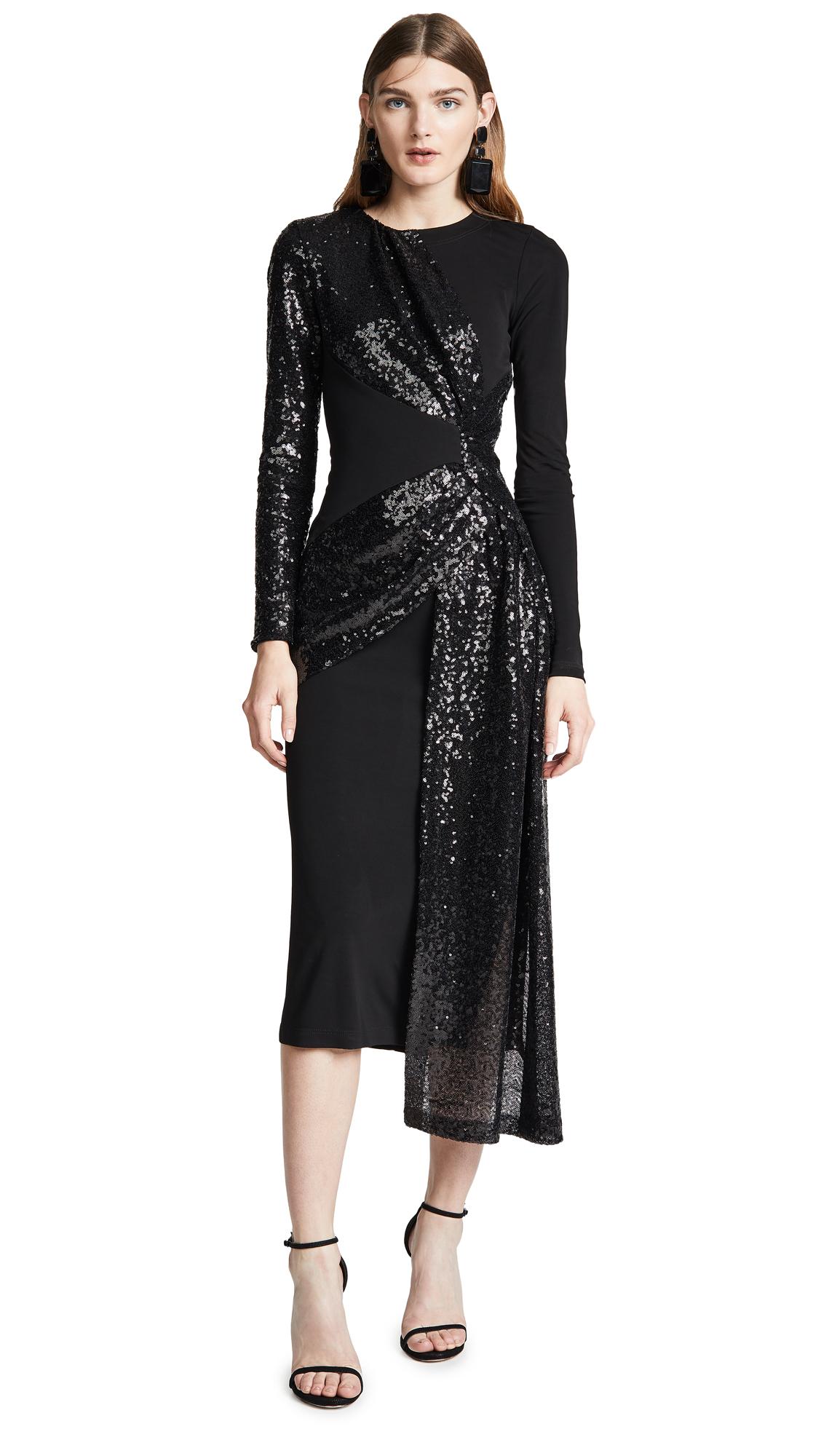Prabal Gurung Shilu Twist Front Dress In Black/Black