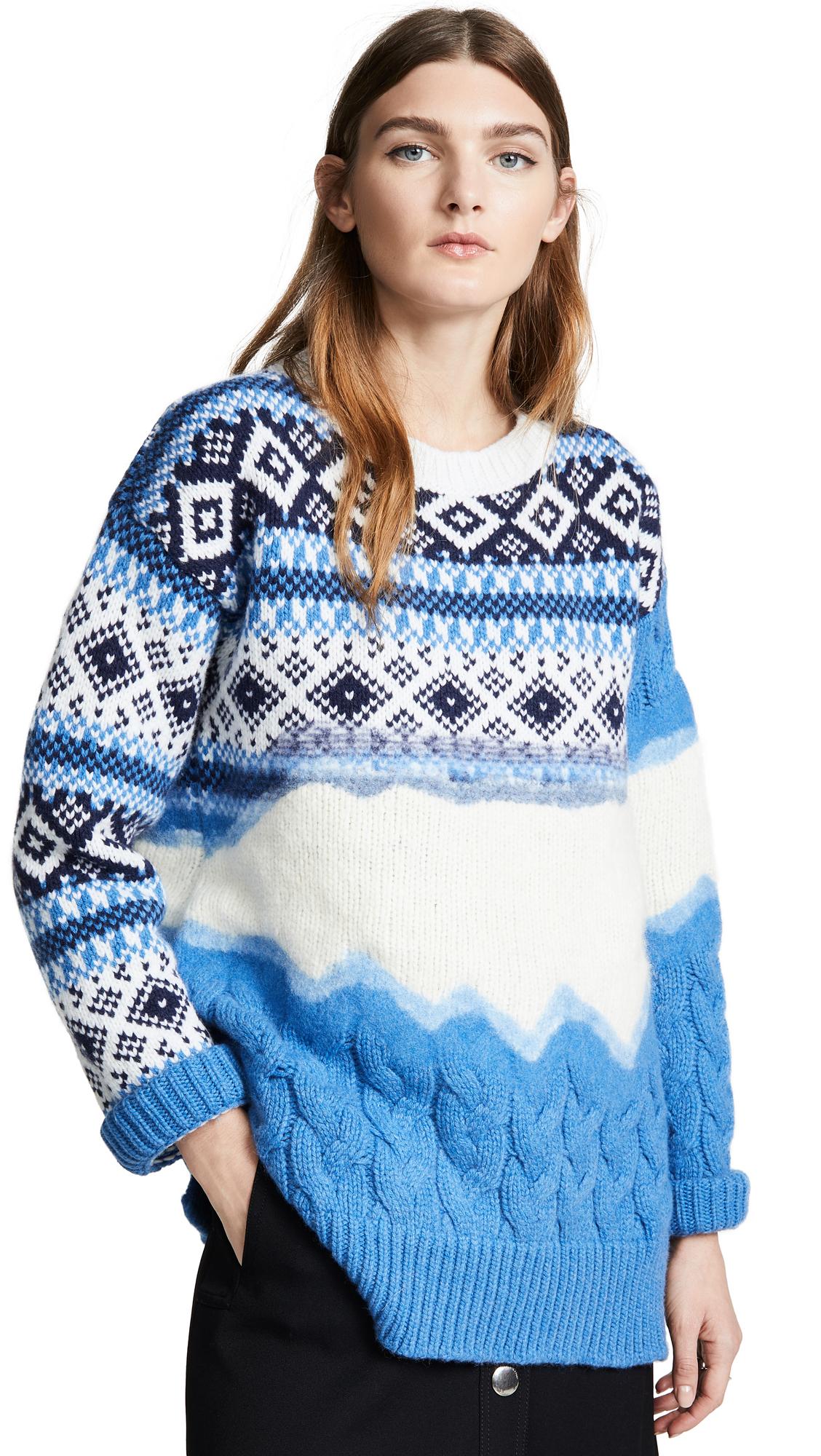 Prabal Gurung Ehe Cable Crew Neck Wool Sweater In Azure Multi