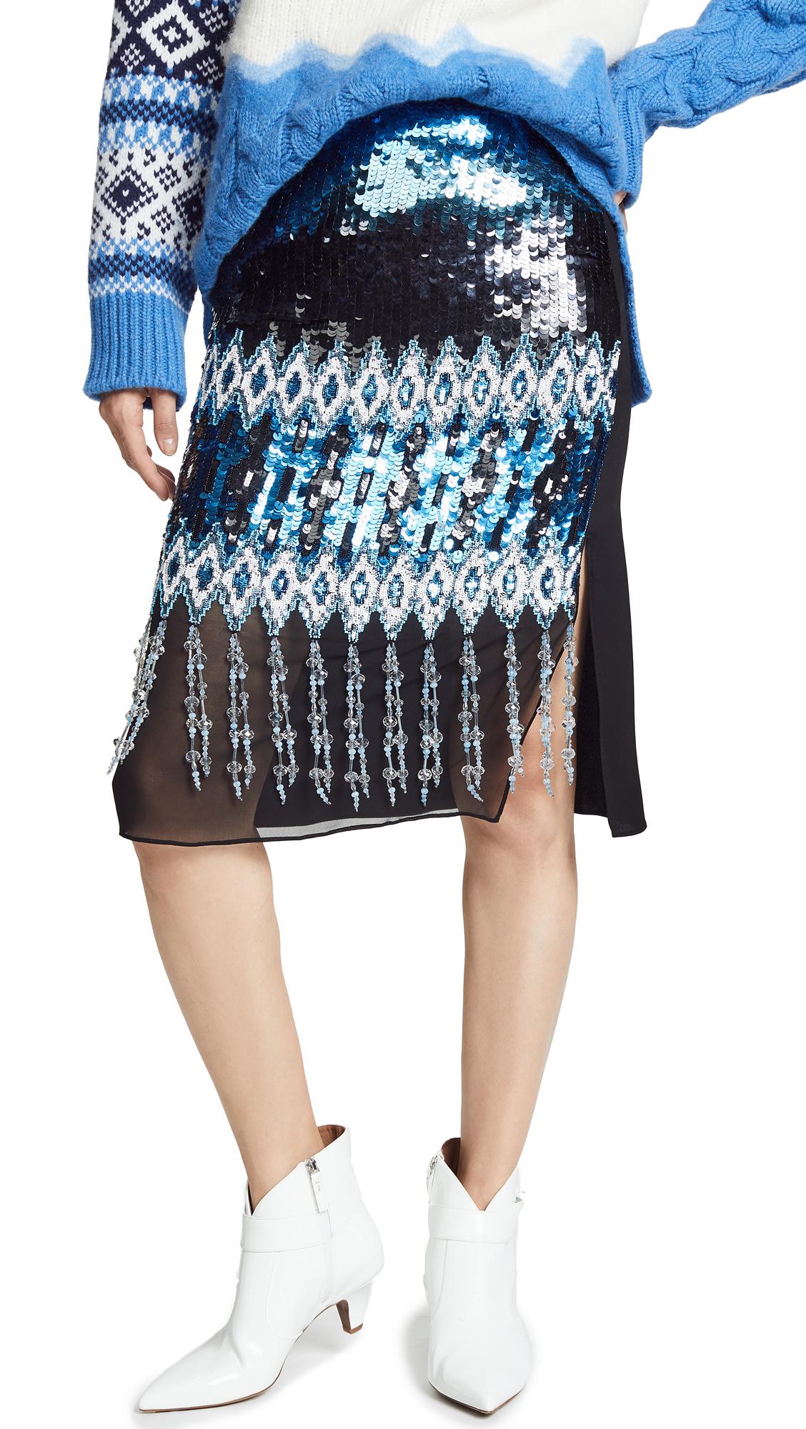 Prabal Gurung Kyla Ikat Embroidered Pencil Skirt In Navy Multi