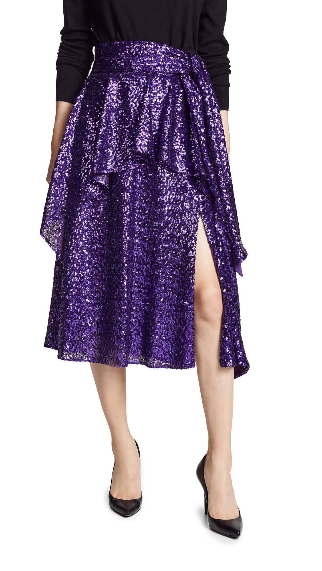 Prabal Gurung Nima Sequin Tie Waist Skirt In Grape