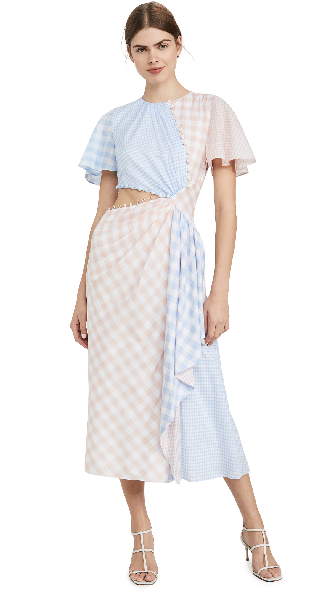 Buy Prabal Gurung online - photo of Prabal Gurung Gingham w/ CascAde and Cutout Detail