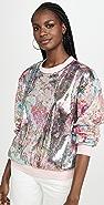 Prabal Gurung Metallic Floral Long Sleeve Top