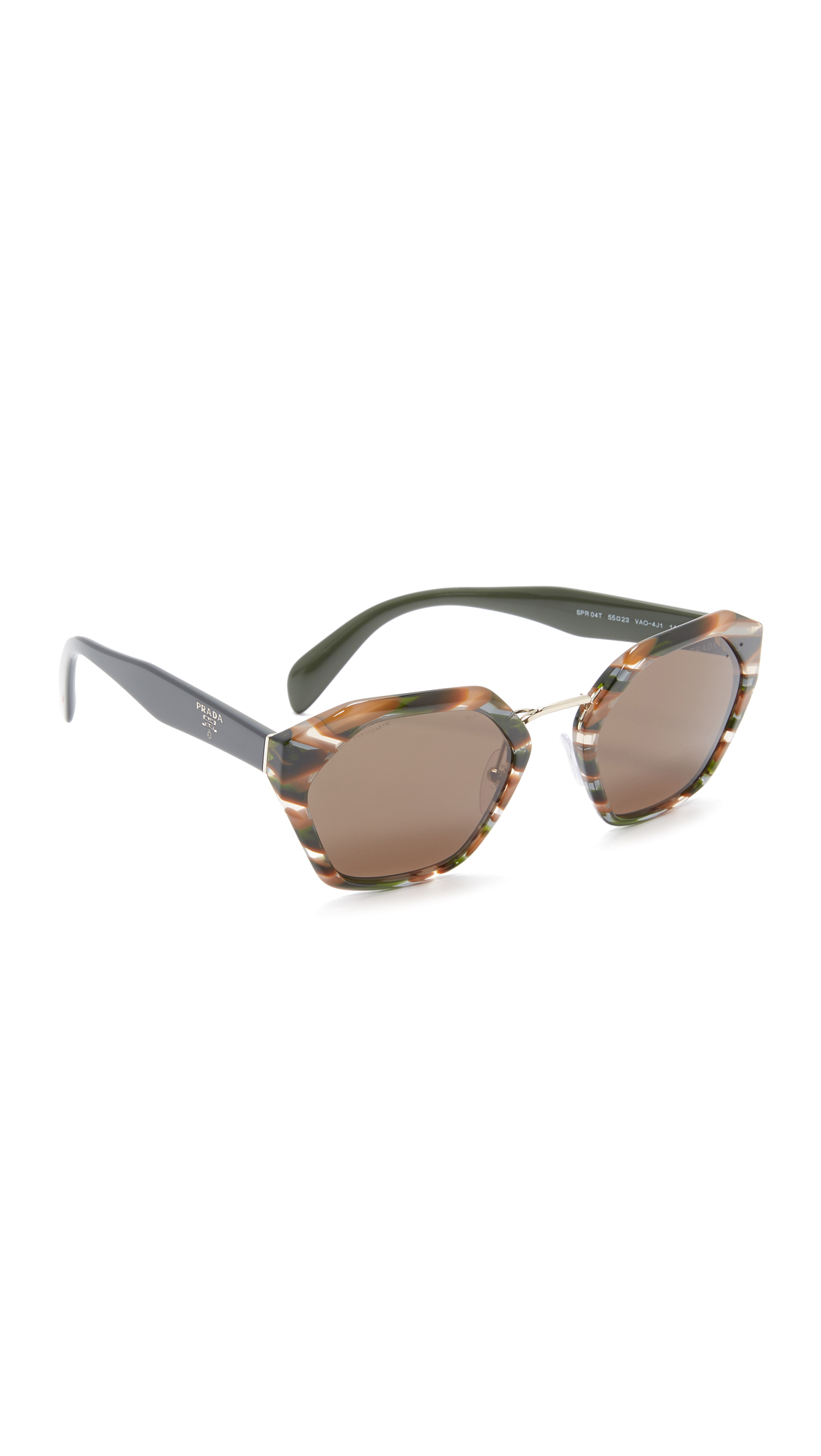 Prada Hexagon Sunglasses - Sheaves Grey Brown/Green at Shopbop