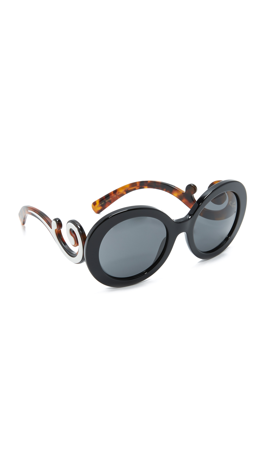Prada Oversized Round Sunglasses - Black/Grey at Shopbop