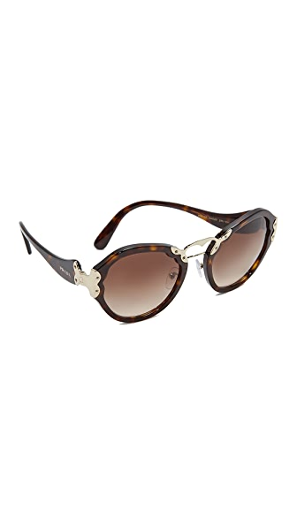 Prada Double Bridge Round Sunglasses at Shopbop