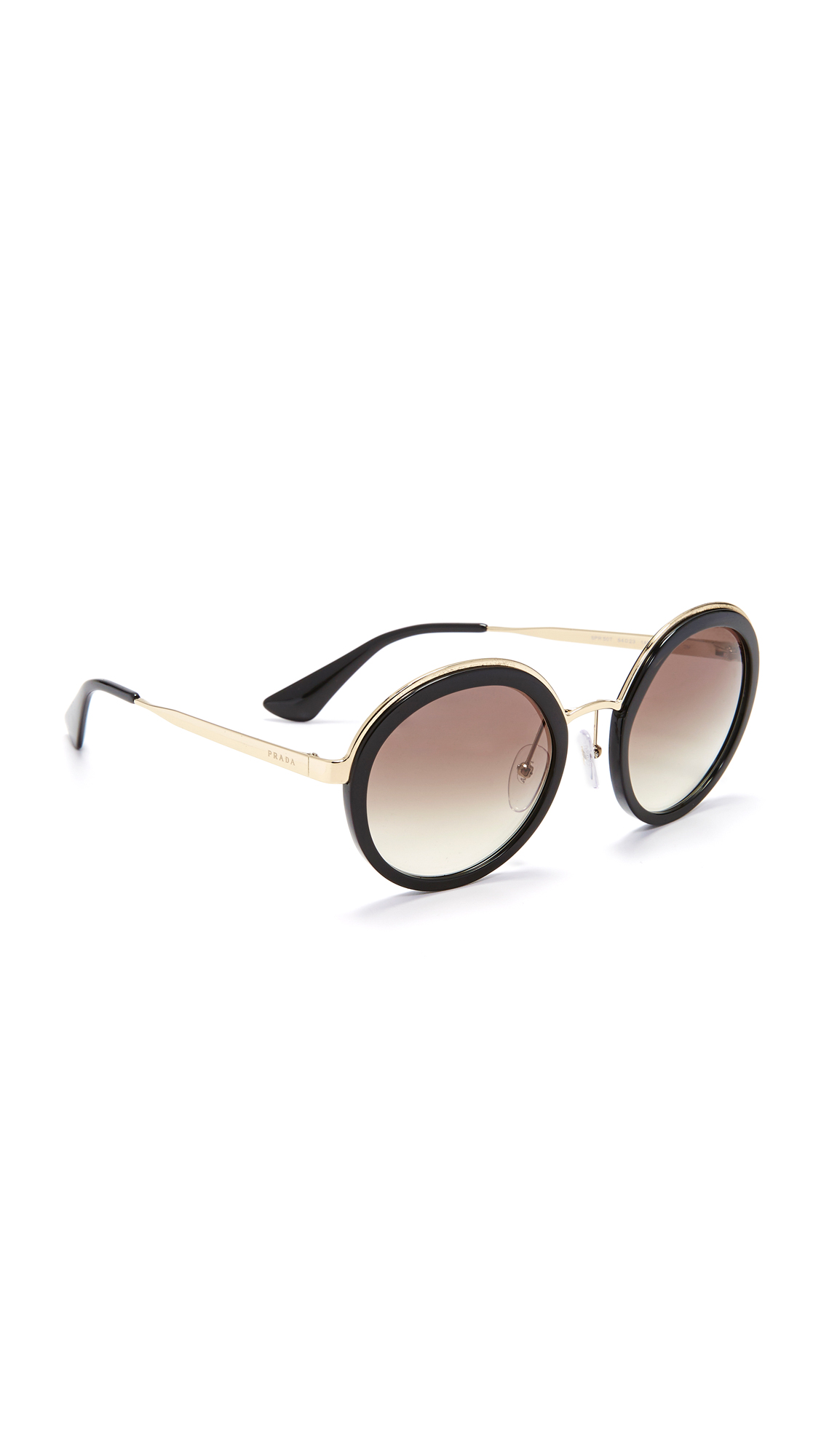 Prada Round Sunglasses - Black/Grey at Shopbop
