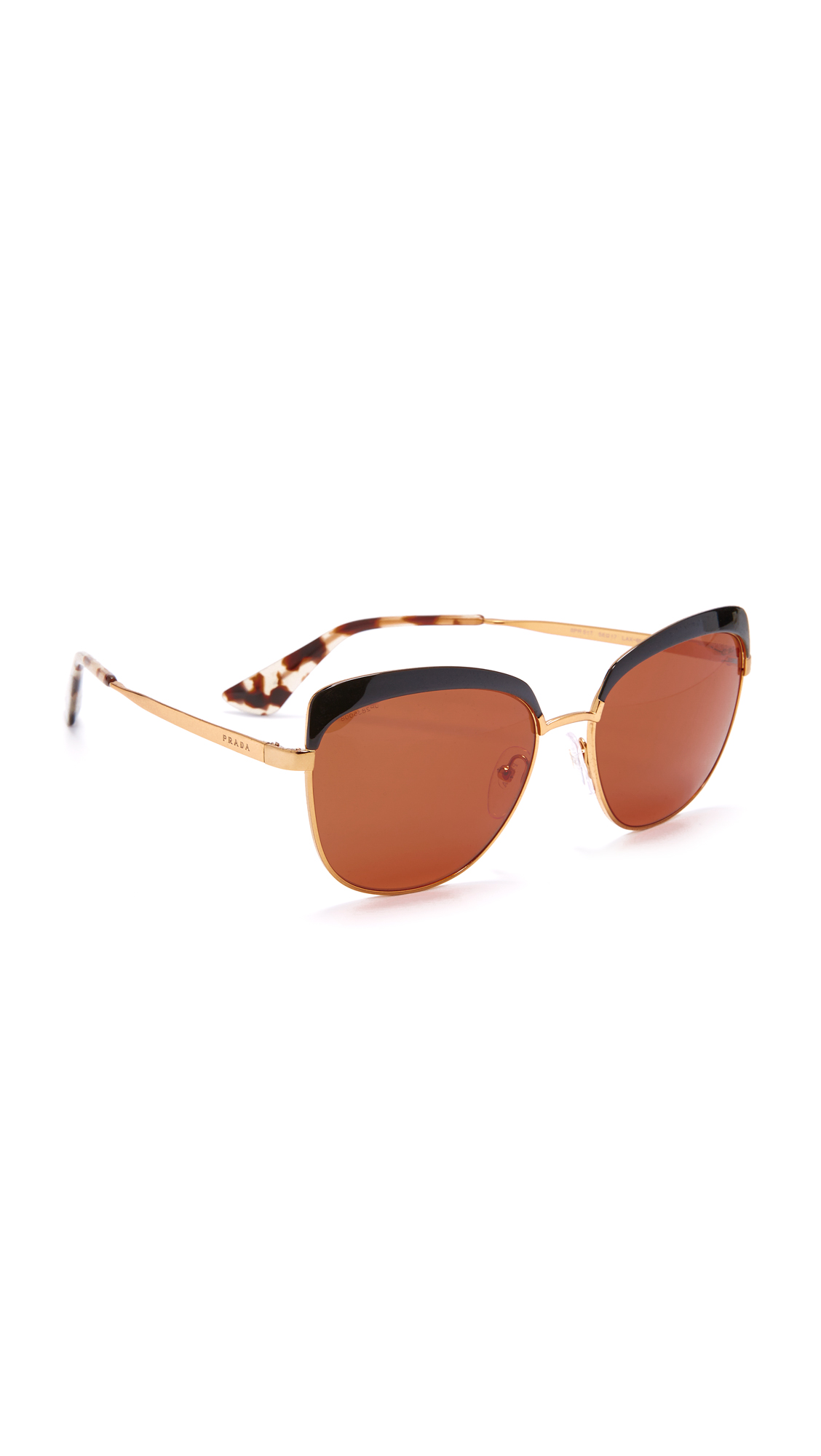 Prada Brow Cat Eye Sunglasses - Black/Brown at Shopbop