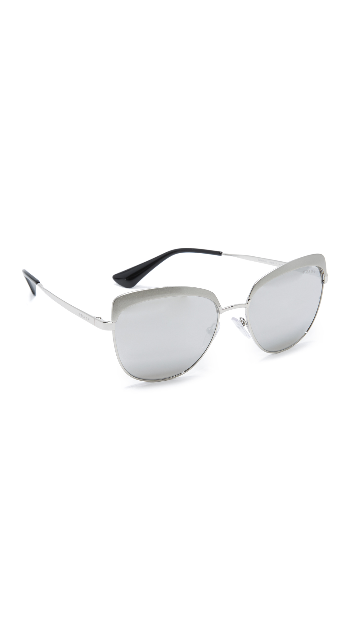 Prada Brow Cat Eye Mirrored Sunglasses - Metallized Silver/Grey Mirror at Shopbop