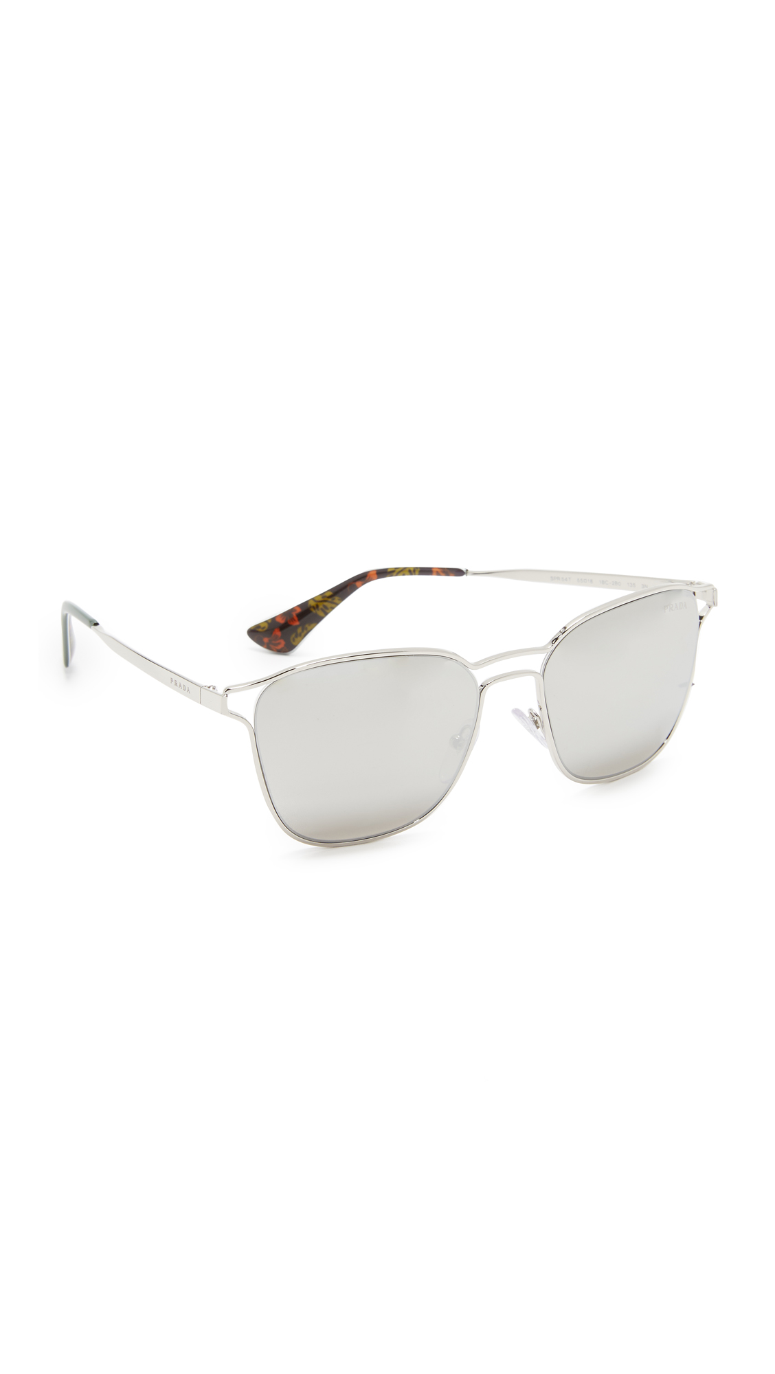 Prada Metal Double Bridge Mirrored Sunglasses - Silver/Light Grey at Shopbop