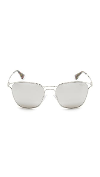 PRADA Metal Double Bridge Mirrored Sunglasses