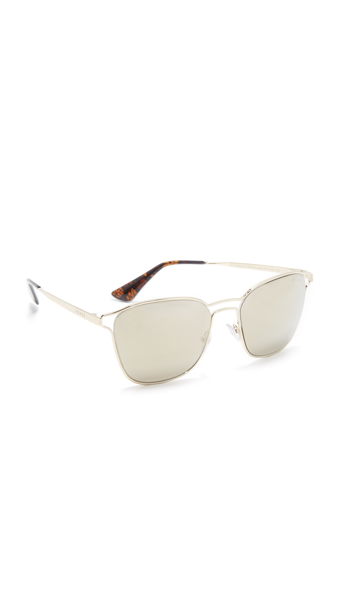 Prada Double Bridge Mirrored Sunglasses - Pale Gold/Light Brown at Shopbop