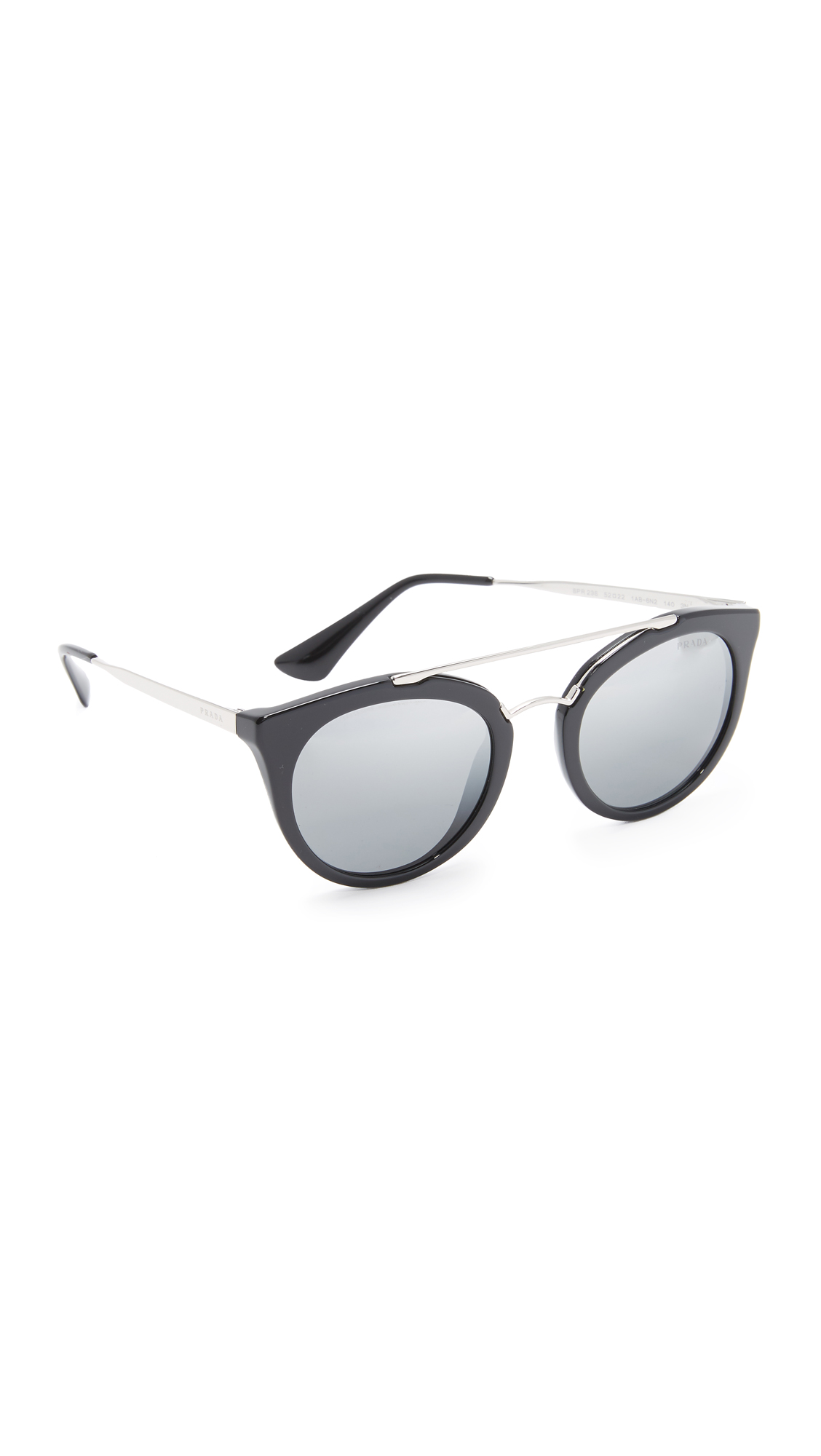 Prada Round Aviator Mirrored Sunglasses - Black/Silver at Shopbop