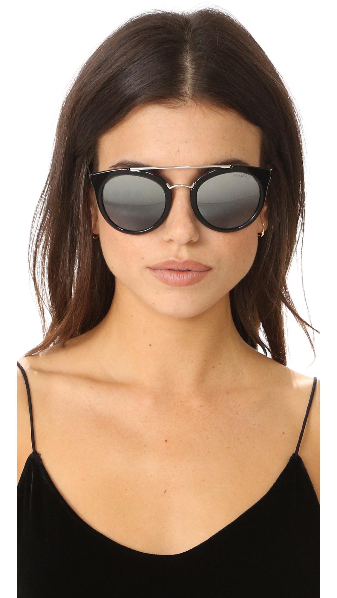 8209b5719f Prada Round Aviator Mirrored Sunglasses