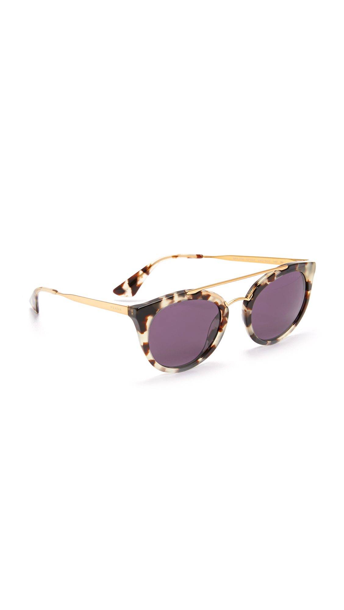 Prada Round Aviator Sunglasses - White Havana/Violet at Shopbop