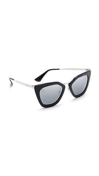 Prada Metal Bridge Mirrored Sunglasses
