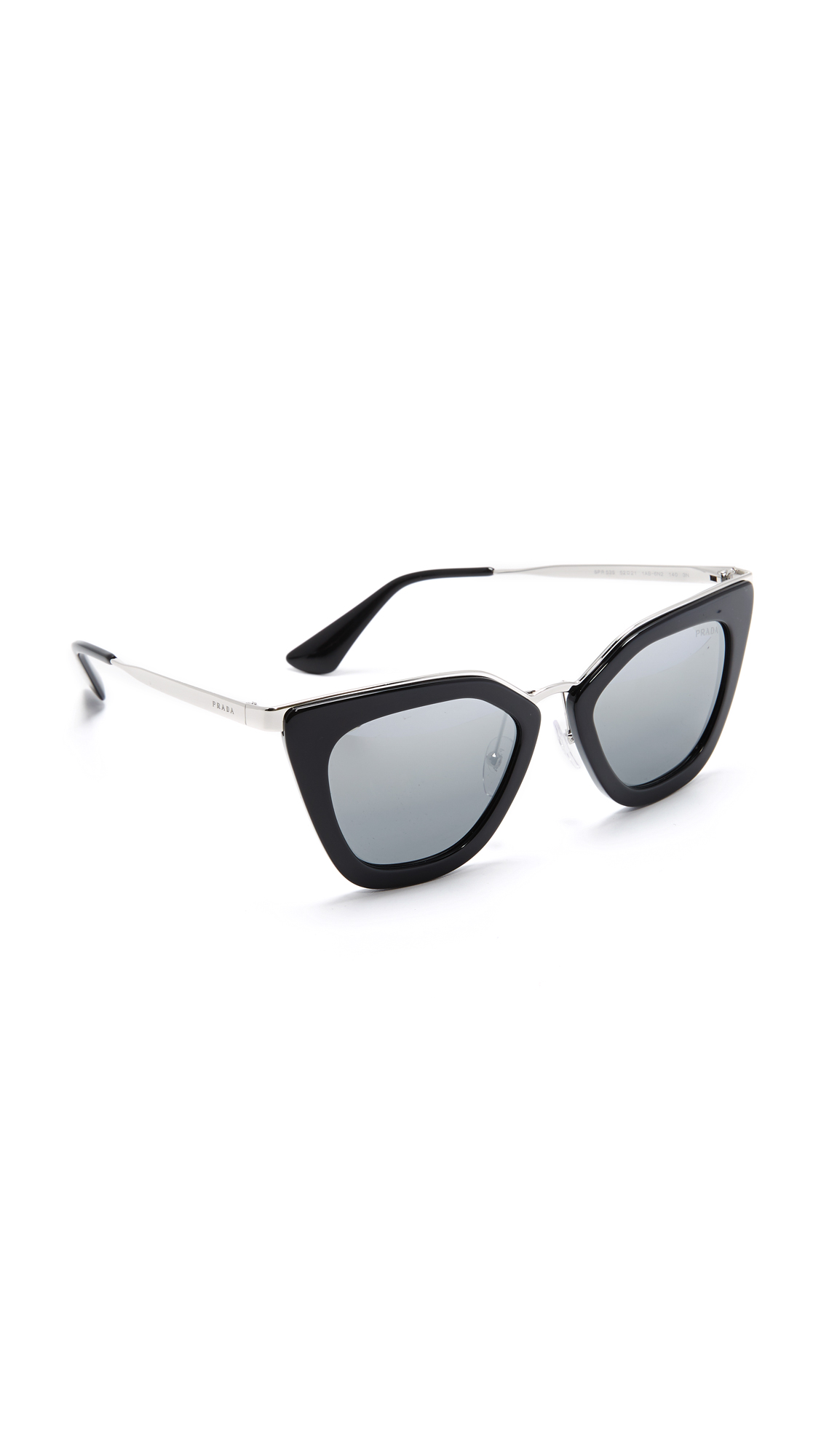 Prada Metal Bridge Mirrored Sunglasses - Black/Silver at Shopbop