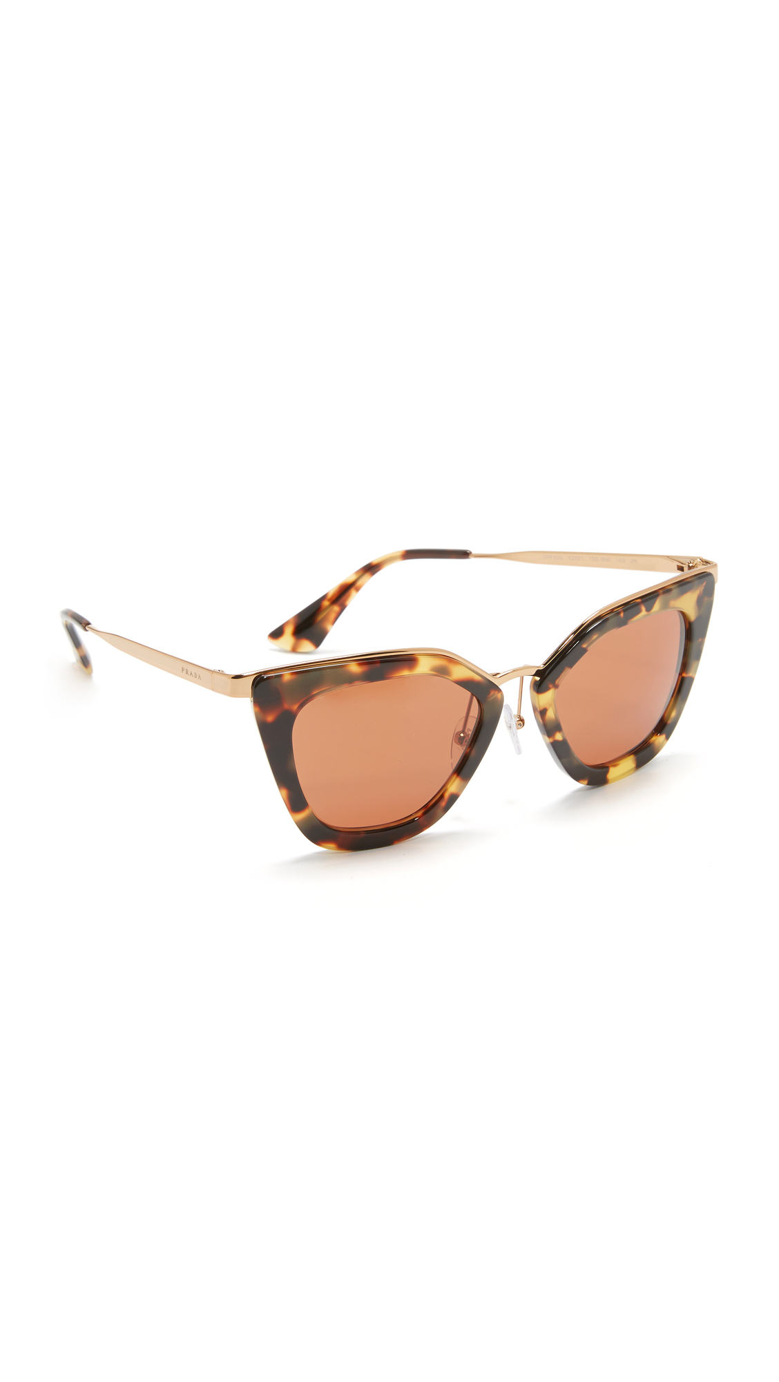 Prada Metal Bridge Sunglasses - Medium Havana/Brown at Shopbop