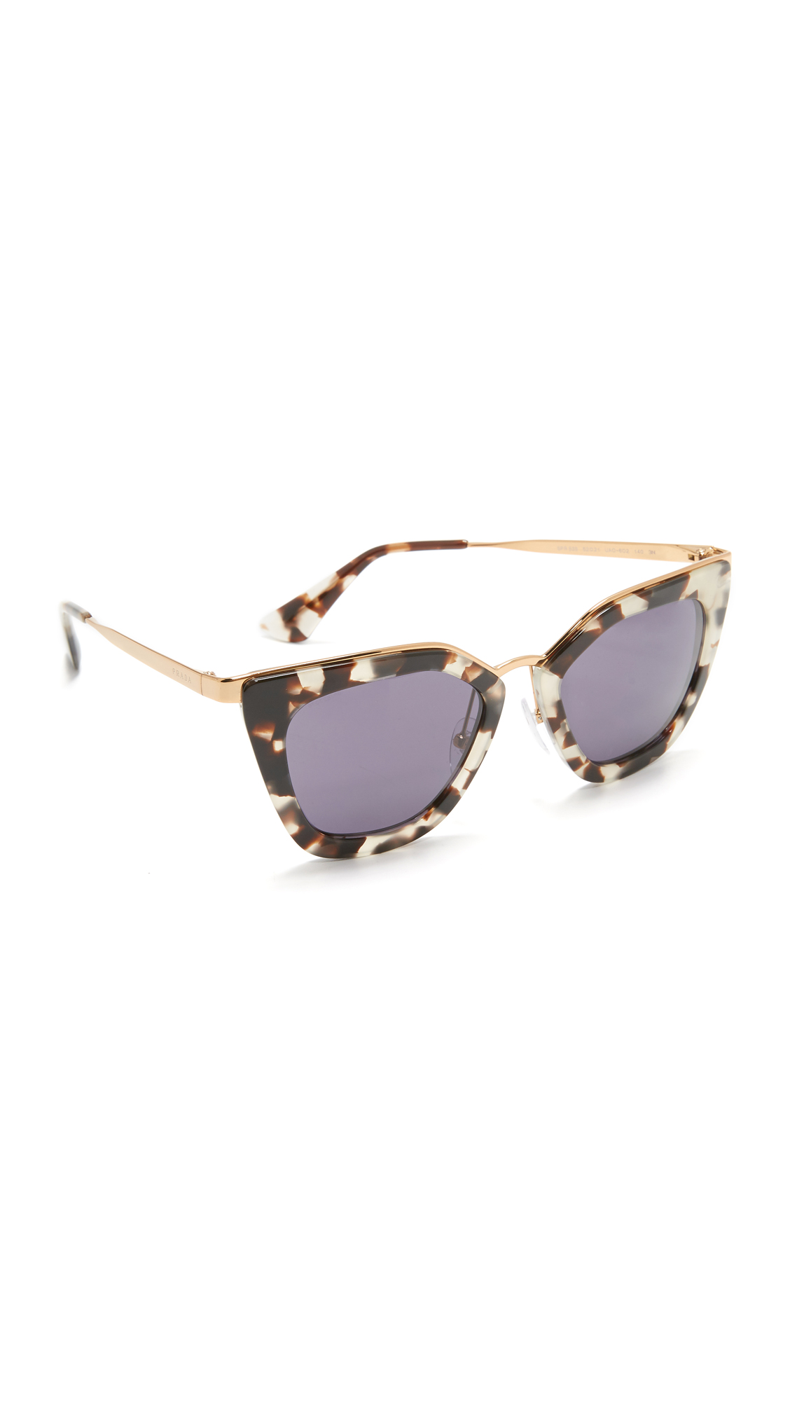 Prada Metal Bridge Sunglasses - White Havana/Gold Violet at Shopbop