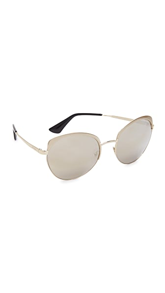 Prada Brow Round Mirrored Sunglasses