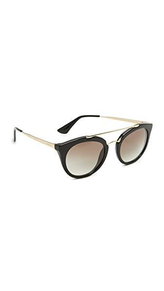 Prada Round Aviator Sunglasses - Black/Grey