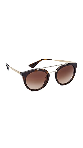 Prada Round Aviator Sunglasses - Havana/Brown