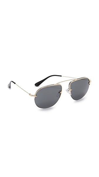 Prada Brow Bar Sunglasses - Pale Gold/Grey