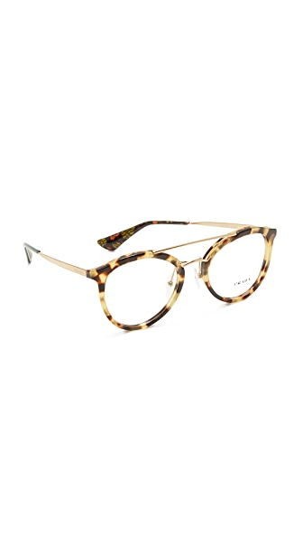 Prada Brow Bar Glasses - Medium Havana/Clear