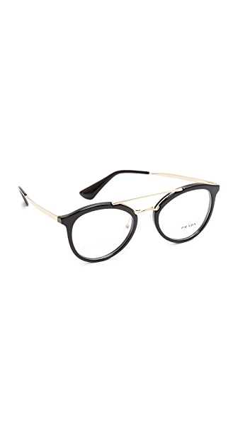 Prada Brow Bar Glasses In Black/Clear