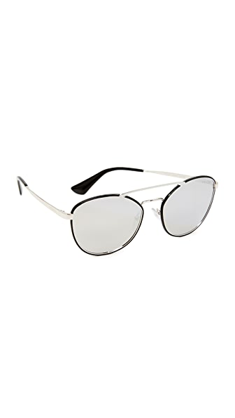 Prada Cinema Aviator Sunglasses - Black/Grey Silver