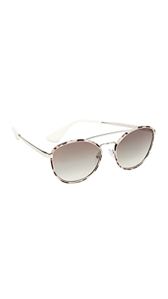 Prada Cinema Aviator Sunglasses In Spotted Opal Brown/Grey