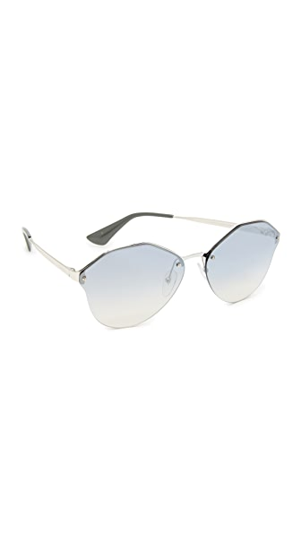 Prada Cinema Oval Sunglasses - Silver/Light Blue Silver