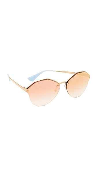 Prada Cinema Oval Sunglasses - Antique Gold/Pink Mirror