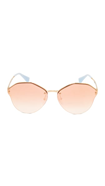 d073c8ba84c PRADA Cinema Oval Sunglasses in Antique Gold Pink Mirror