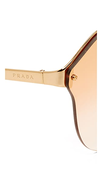 f8cc94a95bb PRADA Cinema Oval Sunglasses in Antique Gold Pink Mirror