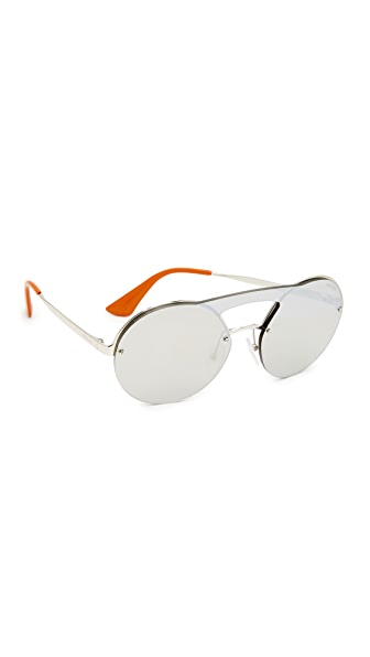 Prada Cinema Round Brow Bar Sunglasses at Shopbop
