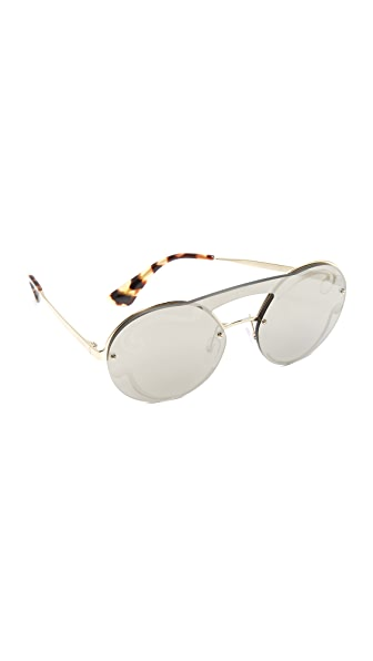 Prada Cinema Round Brow Bar Sunglasses In Pale Gold/Pale Gold