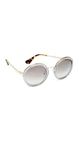 Prada Transparent Round Sunglasses - Transparent Grey/Grey