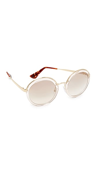 Prada Transparent Round Sunglasses - Transparent Brown/Brown