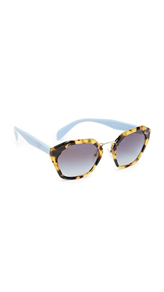 Prada Geometric Sunglasses - Medium Havana/Grey