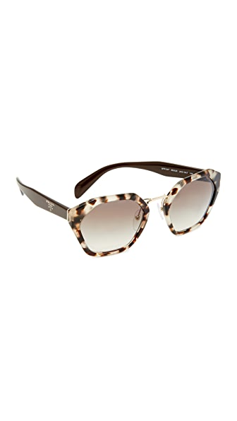 Prada Geometric Sunglasses In Spotted Opal Brown/Grey