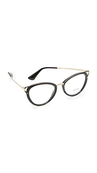 Prada Wanderer Glasses In Black/Clear
