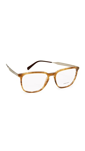 Prada Square Glasses - Striped Brown/Clear