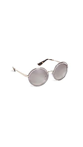 Prada Round Glasses In Grey/Clear
