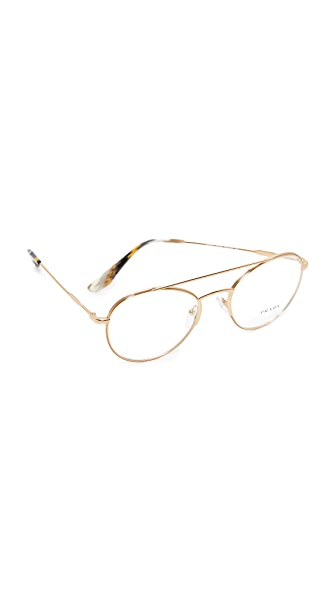 Prada Metal Brow Bar Glasses - Antique Gold/Clear
