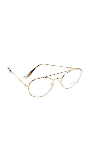 Prada Metal Brow Bar Glasses