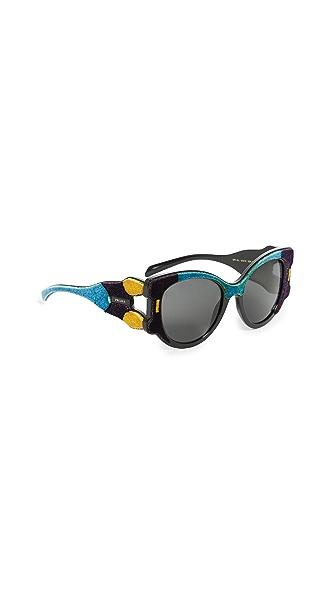 Prada Velvet Cat Eye Sunglasses In Violet Azure Multi/Grey