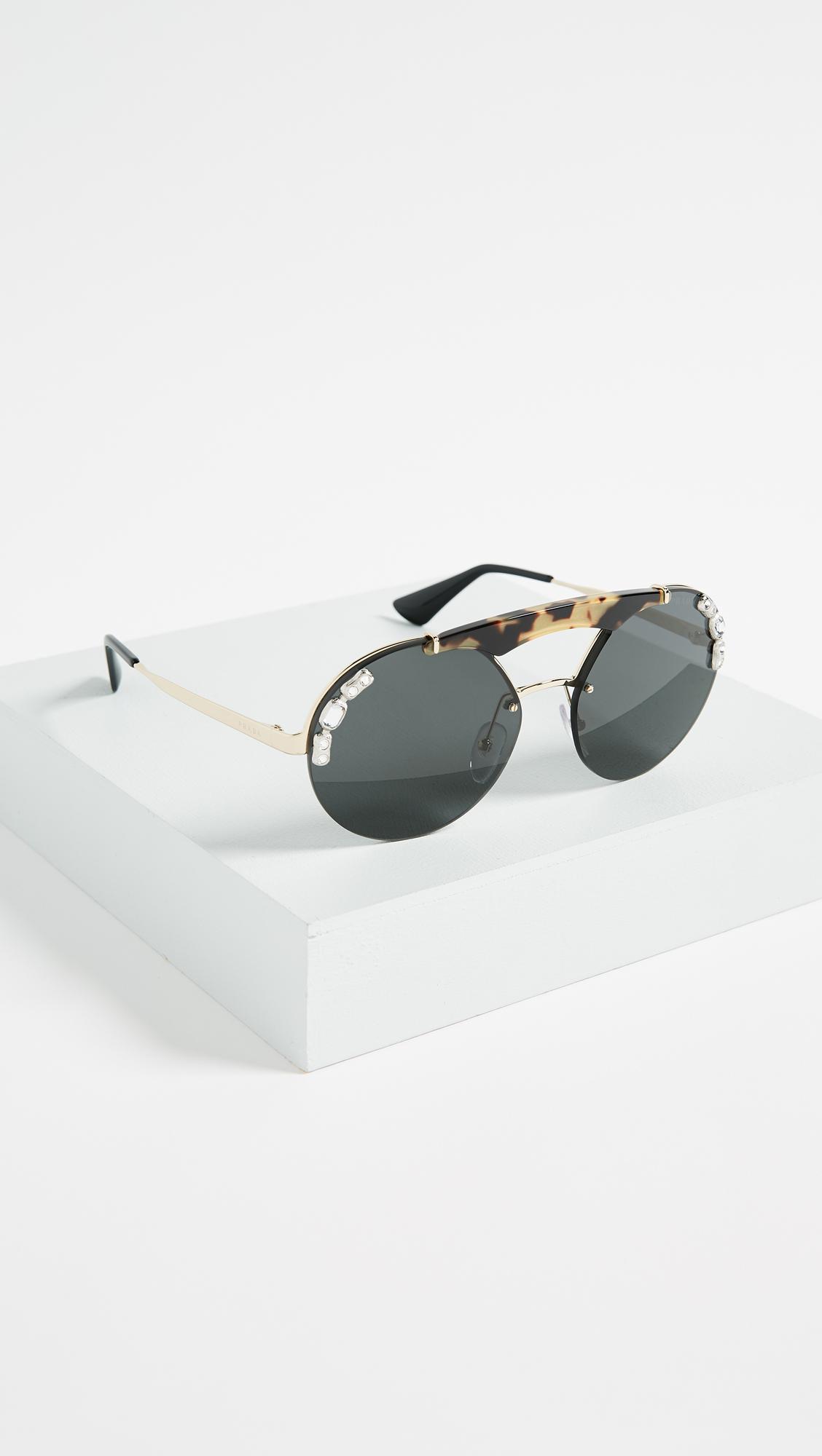 9e59c157f0 Prada Ornate Crystal Round Sunglasses
